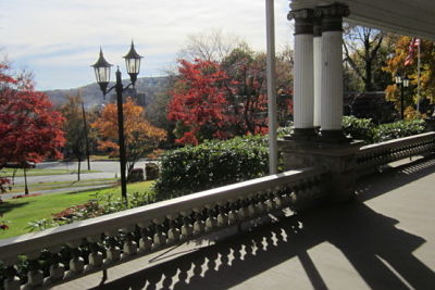 view from museum front porch in november