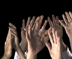 hands raised to volunteer for the Lawrence County Historical Society