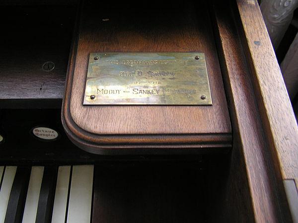 brass plaque from ira sankey organ