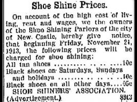 shoe shine advert from newspaper