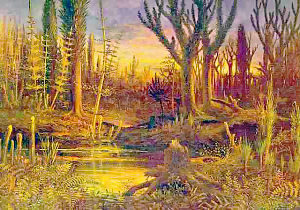 Artistic Depiction of the Early Devonian land-flora
