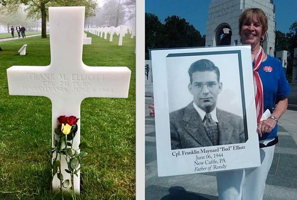 photo of frank maynard elliott being held by a family member standing beside his burial cross at normandy cemetery in france