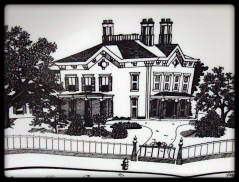 black and white sketch of davis kurtz mansion