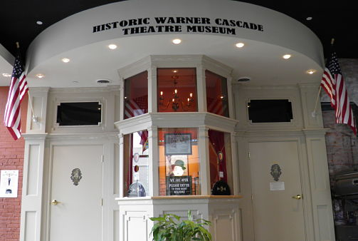 photo of ticket booth at the warner cascade theatre museum