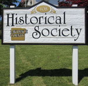 photo of the sign for the Lawrence County Historical Society