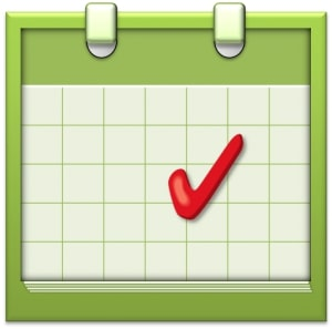 events calendar with red checkmark
