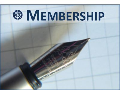 membership sign up logo showing a fountain pen nib and paper