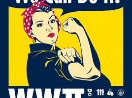 photo of exhibit poster showing rosie the riveter