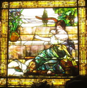 night photo of stained glass window