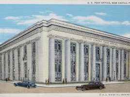 architectural drawing of the new castle post office circa 1933. Provided courtest of Eckles Architecture and Engineering.