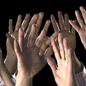 photo of raised hands