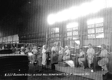 Bloomer Girls in Cold Roll Department at Shenango Works 1917