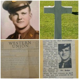 elmer earl hodge photo, cross, western union, and newspaper article photos