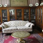 library with leaded glass bookcases