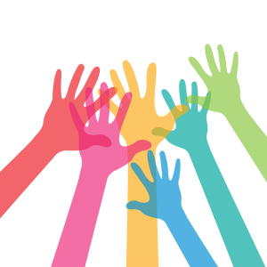 image of raised hands volunteering