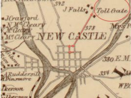 vintage map showing location of the toll gate in new castle pa