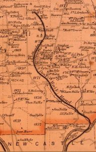 vintage map showing location of the coal rail road through coal town and ending just north of the paper mill lane