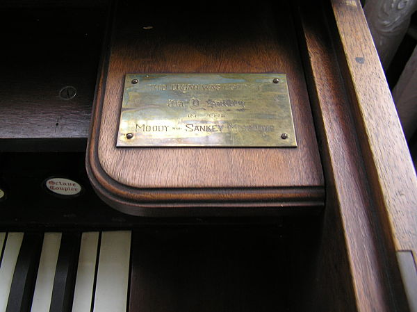 brass plaque from ira sankey organ