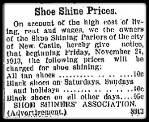 shoe shine advert from newspaper