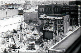 Destruction of city block in New Castle 1972