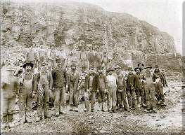 Limestone quarry workers